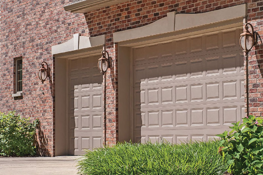 Short Raised Panel Garage Door shown in Sandstone